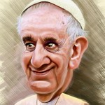 Cartoon Portrait of Pope Francis Square Pic