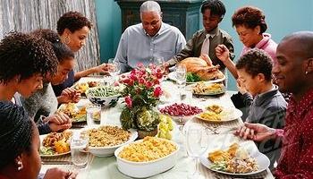 Large Family Praying Wide Pic