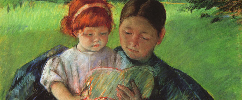 Reading Out Loud to Child Painting Wide Pic