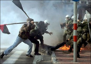 Collapse of Greece and Europe Demonstrators Protestors Police Chaos Anarchy Disorder Fight Wide Pic