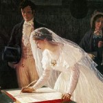 Edmund Blair Signing the Register Wedding Registration Marriage Painting Wide Pic