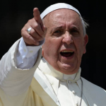 Pope Francis Pointing Strong Face Wide Pic