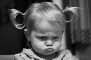 Baby Pouting Cry Baby Little Girl Pony Tails Cute Black and White Wide Pic