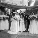 Big Wedding Marriage Family Black and White Wide Pic