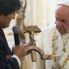 Evo Morales Bolivian Communist Cruciffix Pope Francis Square Pic