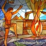 King David Dances Ark Stain Glass Window