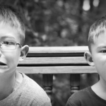 Two Children Boys Make Gross Scary Bewildered Animated Face Wide Pic