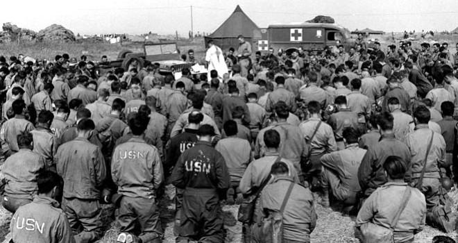 Jeep Altar Mass World War II Kneeling Wide Pic