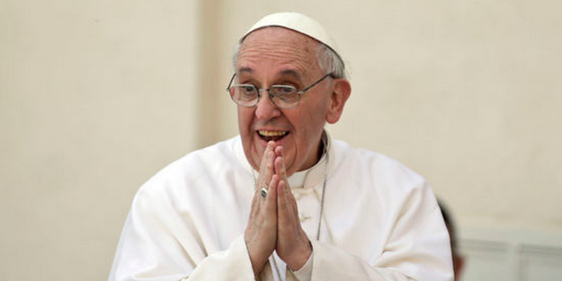 Pope Francis Clapping Happy Sitting Down Smiling