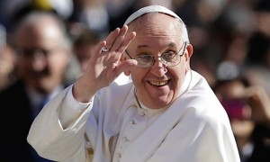 Pope Francis Smiling and Waving Wide Pic